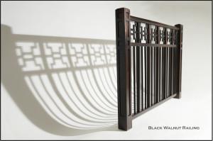 Walnut Railing with Shadows