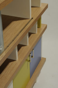 Perriand Bookcase Rolling Track Detail