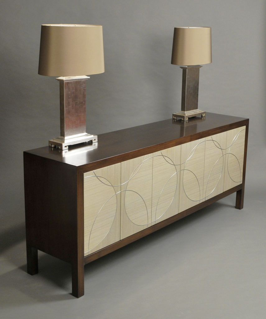 Black Walnut and Koto Credenza with Silver Leaf Lamps