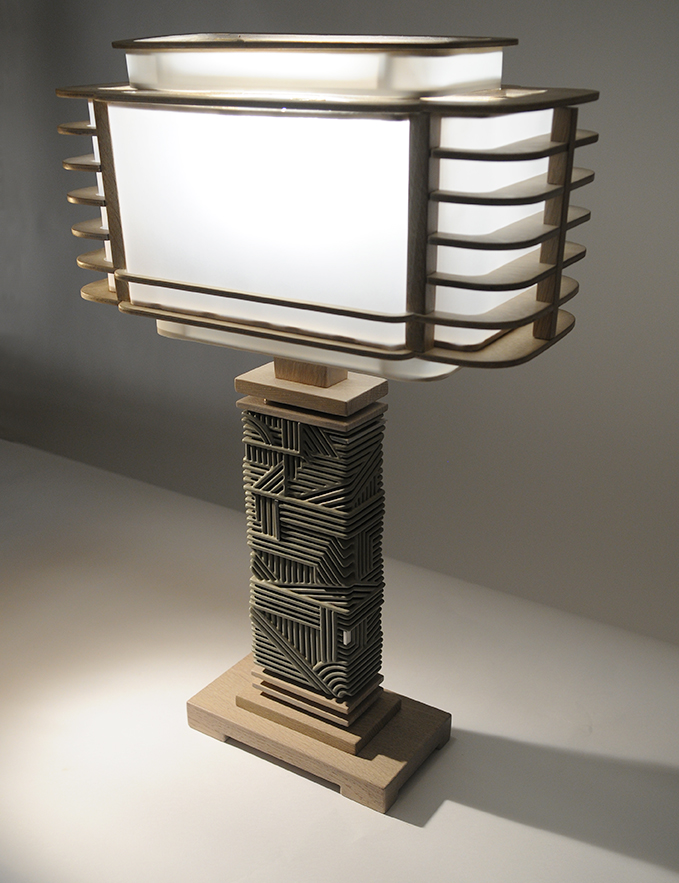 Khaki Industrial Lamp with shade
