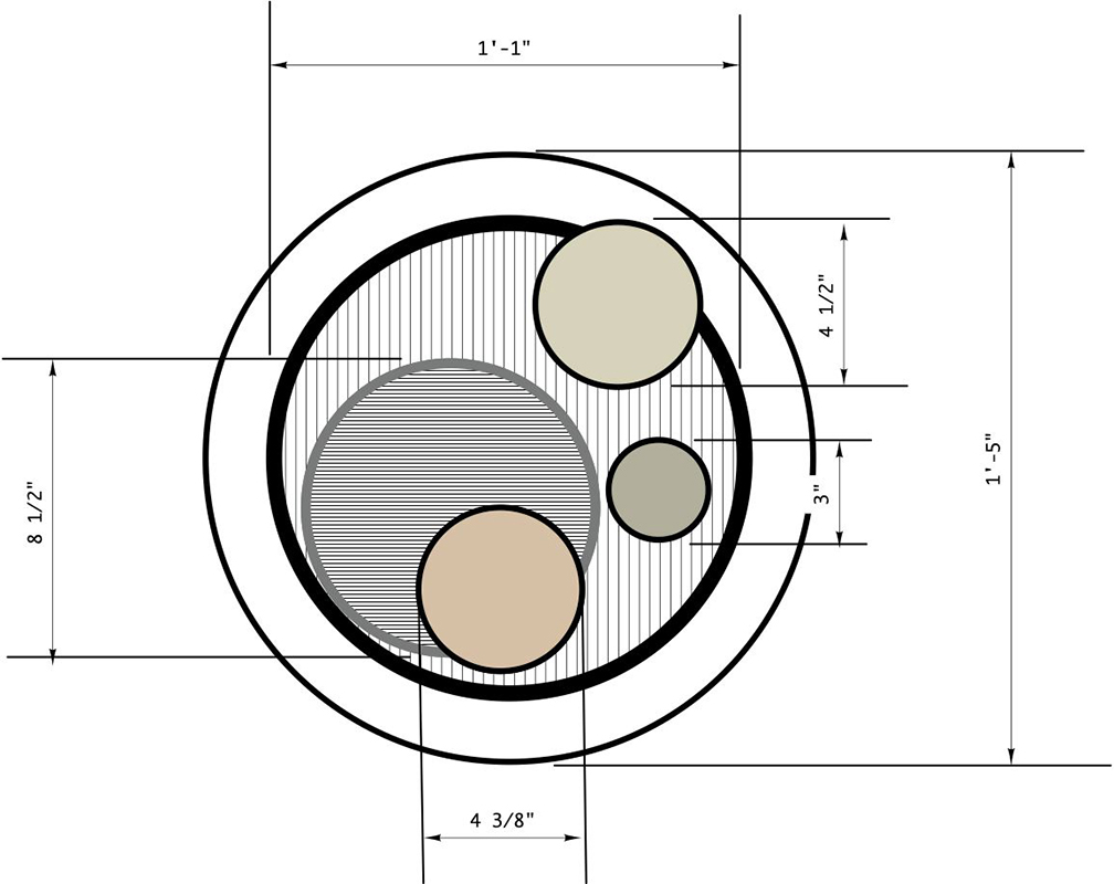 CAD drawing of round tray.